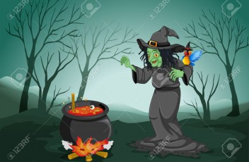 20142936-Illustration-of-a-scary-witch-at-the-forest-with-a-pot-and-a--Stock-Photo
